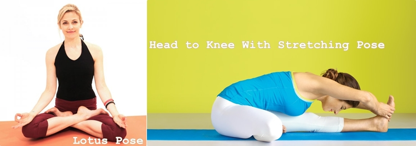 Head to knee and lotus pose
